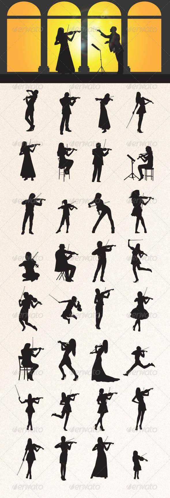 Violinist Silhouettes #graphicriver