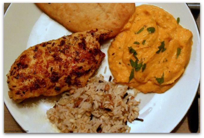 Indiase kip met wortel & bloemkoolmousse