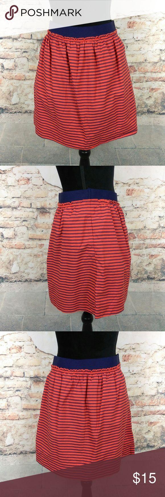 J. Crew 2 Orange Blue Striped Market Mini Skirt J. Crew Wms Sz 2 Orange Blue Striped Market Mini Skirt 100% Cotton w/ POCKETS J. Crew Skirts Mini