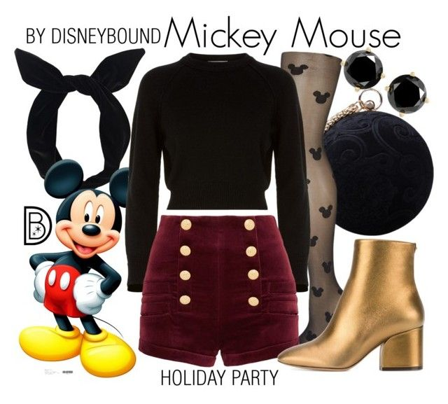 """""""Mickey Mouse"""" by leslieakay ❤ liked on Polyvore featuring Lulu in the Sky, Carvela, Helmut Lang, Pierre Balmain, Salvatore Ferragamo, Christmas, disney, disneybound, disneycharacter and holidaystyle"""
