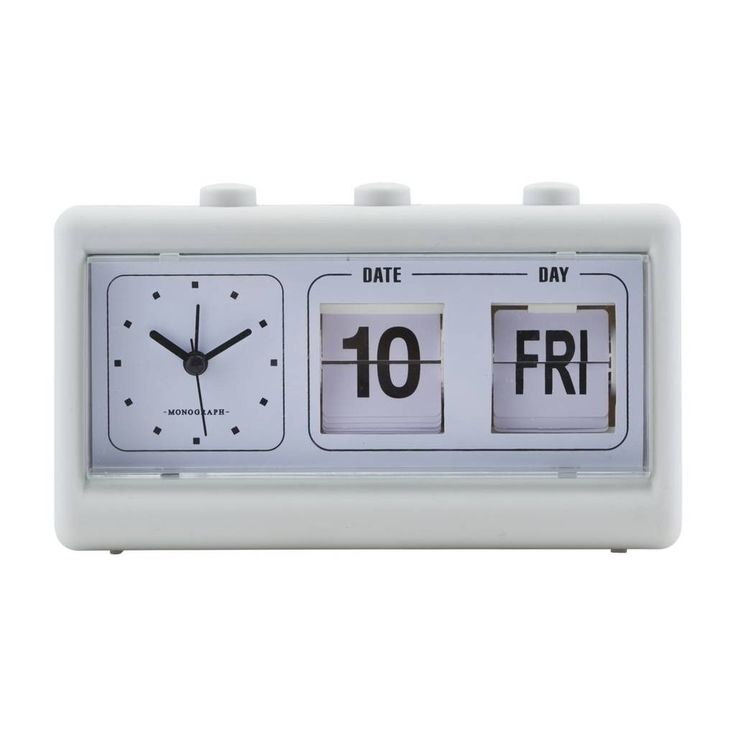 This retro style clock has an alarm and charming retro style flip calendar. A practical and stylish update for a home office or bedroom, this neutral clock makes a great gift for a design aficionado who is difficult to buy for .Also available in blue.