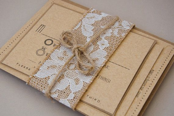 Rustic Burlap Lace Amp Twine For Invitations By SplashOfSilver 300 Wedding Invitation Suite