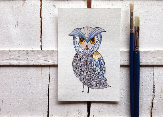 owl illustration original watercolor by ariannapiazzafineart, $39.00