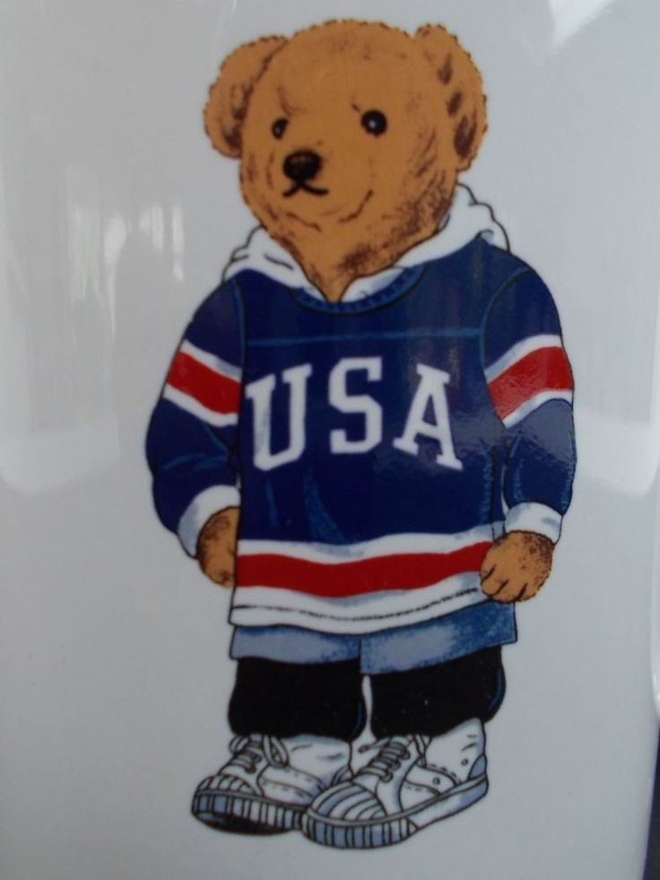 Ralph Lauren Hockey Bear USA Coffee Mug Tea Cup Polo 1997