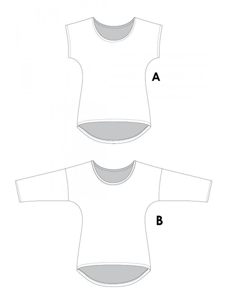 Jalie 3352 - Dolman Tops - Line Drawings