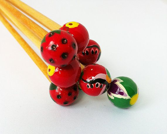 Peace Fleece Hand Painted Wooden Knitting Needles  by Scrumbobbly