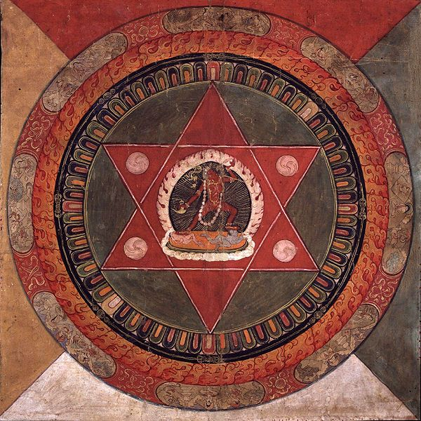 A 19th century CE Tibetan mandala, a tool used in some Buddhist schools and also in Hindu and Jain tradition. Mandalas are ritual images designed to facilitate different psychophysical practices such as meditation.