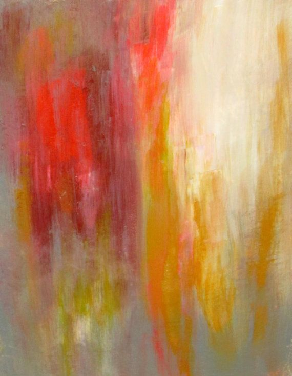 Abstract Original Acrylic Painting With Orange Gold