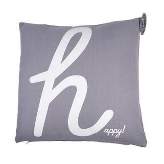 Kussen happy grijs/ecru 45x45 cm, alles voor je klus om je huis & tuin te…