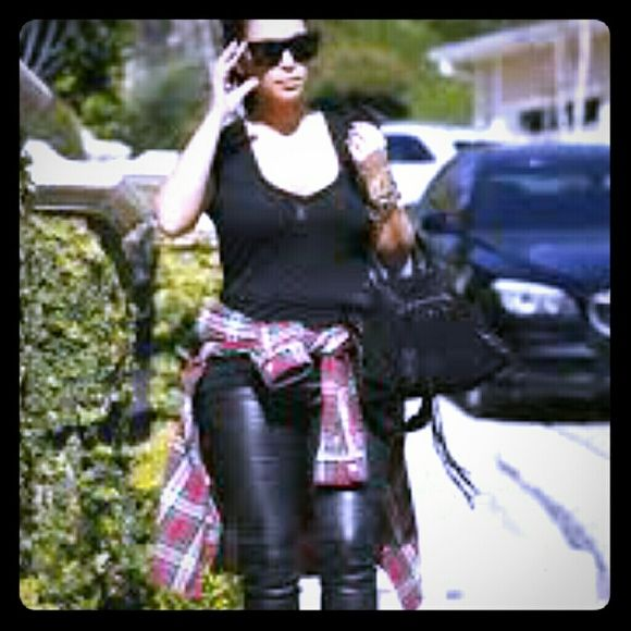 Kardashian Kollection Other - Kardashian Kollection black wet look leggings