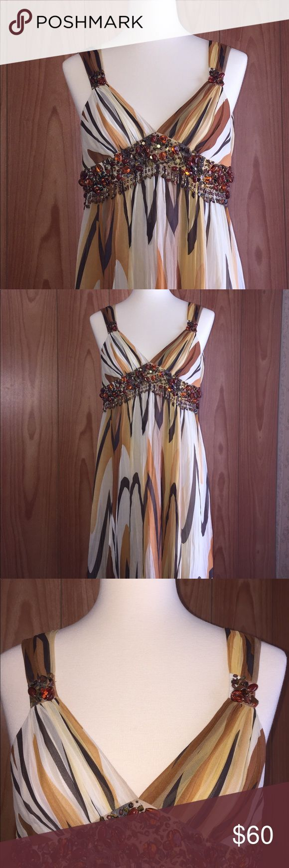 """NWT BCBG 2STRP EMPIRE WAIST SILK DRESS Approximately 30"""" long. New with tags attached. Java color BCBG Dresses"""