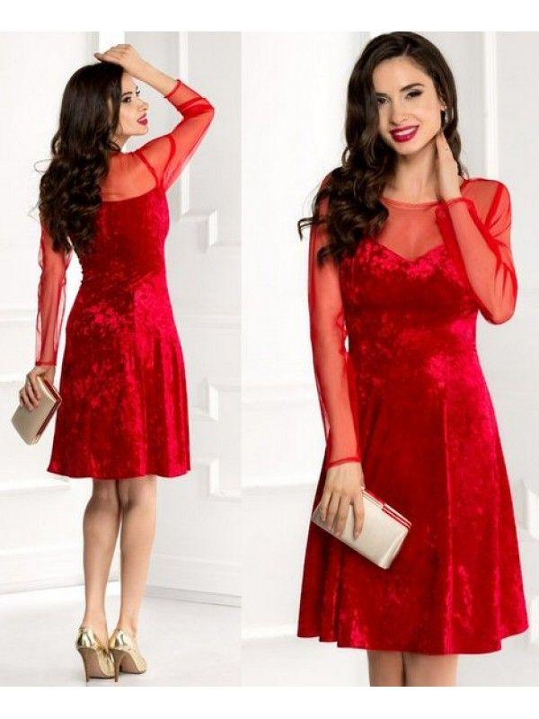 Rochie de ocazie midi rosie din catifea in ape Dora