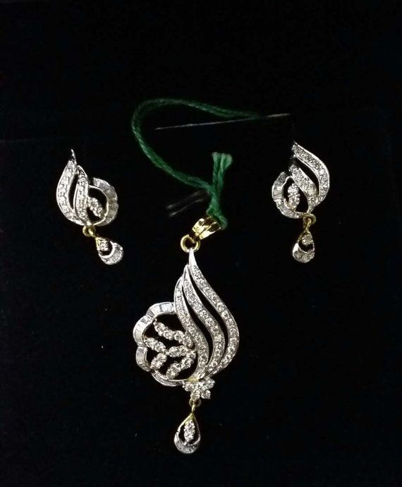 VERY Beautiful 18 Karat Gold Diamond Pendent set with Earrings