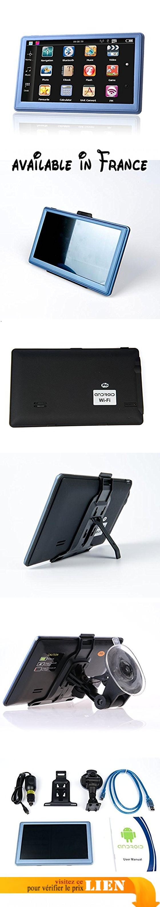 Système de navigation GPS de voiture, 17,8cm 8Go Android Écran tactile véhicule GPS SAT NAV inclus North Cartes européennes. Le bon signal GPS des GPS et la qualité du matériau, le plus rapidement à vos cartes; info.. Android 4.4.2, mt8127a CPU, ARM Cortex-A7processeur quatre cœurs, 1.35GHz; construit en 8Go, 512MB DDR ramx8bits. Écran tactile 17,8cm 800* 480TFT écran large, jouer à des jeux, regarder des vidéos, transparent pour voir