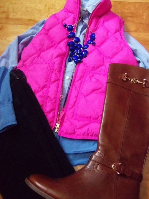 Vest: J.Crew Excursion Vest  |  Boots: Tory Burch Nadine  |  Jeggings: Hollister  |  Shirt: J.Crew  |  Necklace: BaubleBar