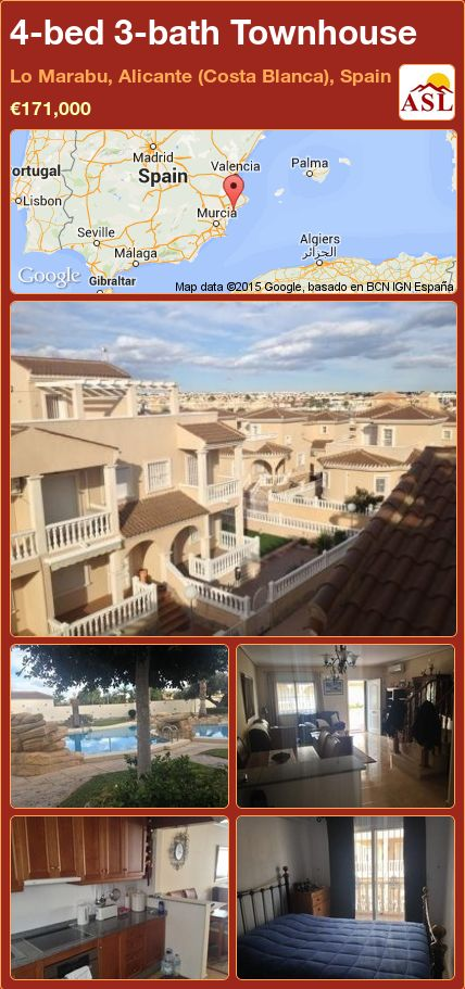 4-bed 3-bath Townhouse in Lo Marabu, Alicante (Costa Blanca), Spain ►€171,000 #PropertyForSaleInSpain