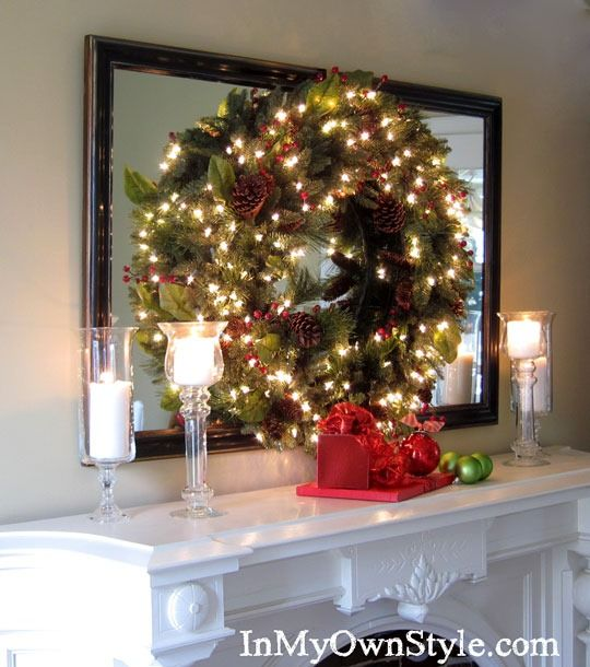 How to hang a wreath on a mirror trees how to hang and How to hang garland on a christmas tree