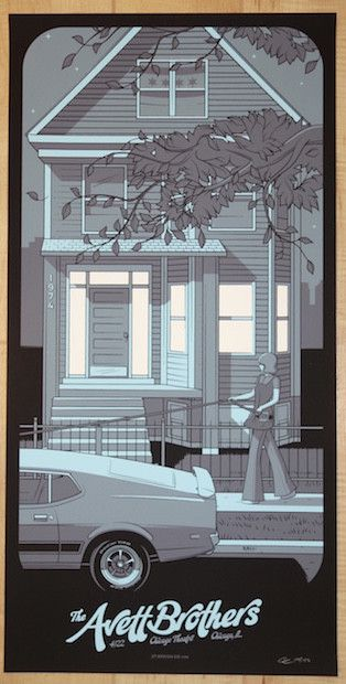 "The Avett Brothers - silkscreen concert poster (click image for more detail) Artist: Charles Crisler Venue: Chicago Theatre Location: Chicago, IL Concert Date: 4/22/2016 Size: 12"" x 24"" Edition: 150;"