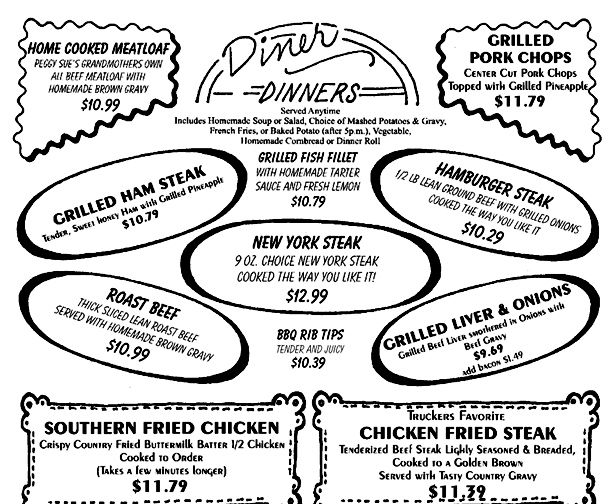 50 Diner Menu  BREAKFAST / LUNCH DINNER 50s Diners Pinterest