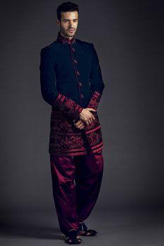 Velvet indo-western sherwani with patiala embellished with resham and moti work.