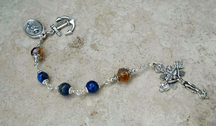 St Michael The ArcAngel Lapis Lazuli Gold Crystal US Navy Sailors Rosary Chaplet