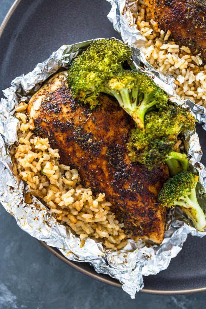Chicken, rice, and broccoli all done in one delicious foil packet for a healthy and flavor-packed dinner! What's not to love about foil