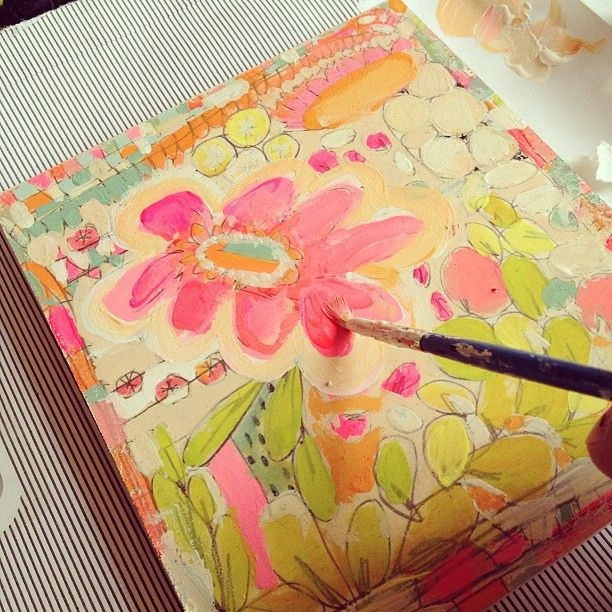 While stuck on the phone....doodling with paint and pencil by pam garrison, via Flickr