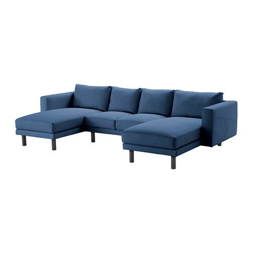 IKEA - NORSBORG, Loveseat with 2 chaises, Edum dark blue, gray, , Big or small, colorful or neutral. The sofa comes in many shapes, styles, and sizes so that you can easily find one that suits you and your family.A soft and comfortable sofa filled with high resilience foam that supports your body and quickly regains its shape when you stand up.Slightly higher armrests make it extra comfortable to curl up in the corner of the sofa.The cover is easy to keep clean as it is removable and can be…