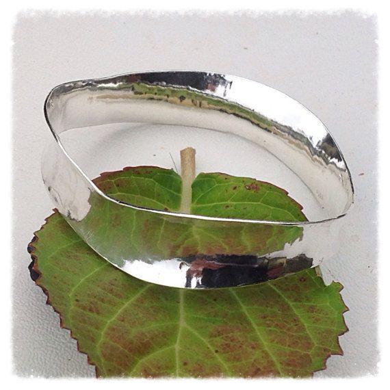 Sterling silver wavy anticlastic bracelet  hand by HENjewellery
