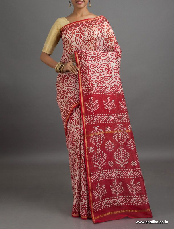 Kavita White and Red #BatikPrintSaree