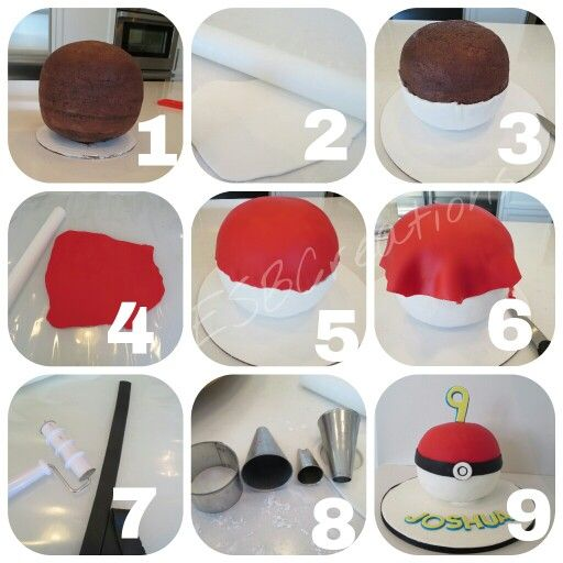 Tutorial how to make a Pokemon ball cake