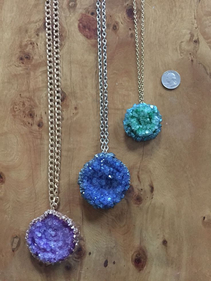 Crystal necklaces made with borax