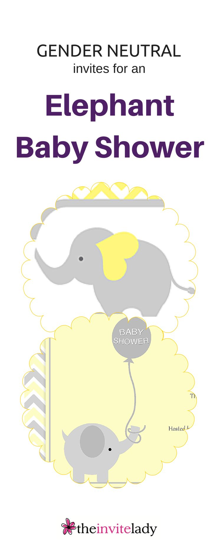 Cute and cheery Baby Shower Elephant Invitations in Yellow. Great for surprise or Gender Neutral showers. - from www.theinvitelady.com - #Baby #Shower #Elephant #Invitations #ideas #Yellow.