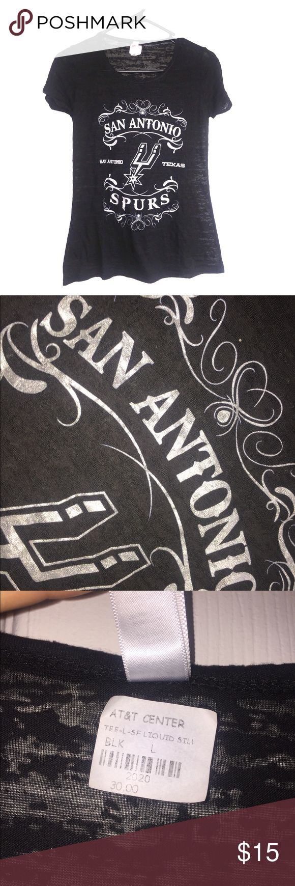Spurs Shirt See threw t-shirt San Antonio Spurs. Never worn bought it after Spurs game. It's a large size but looks like small size or x-small. Lettering it silver. Tops Tees - Short Sleeve