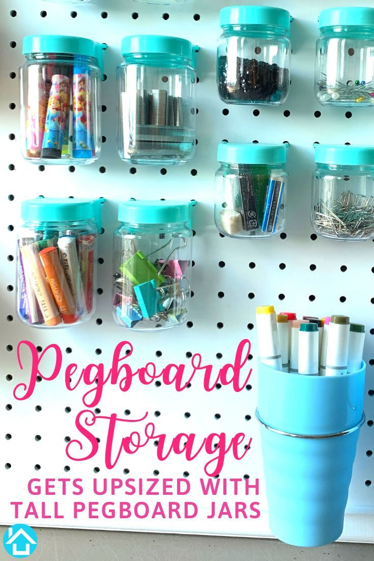We Upsized Our Original Pegboard Jars To 3 75 Inches Tall Longer Pieces Of Chalk Quilting Bobbins Needles In 2020 Pegboard Accessories Peg Board Pegboard Craft Room