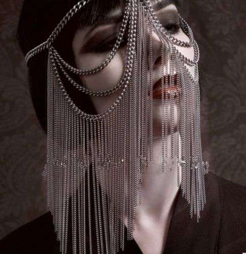 SILVER-TONE-HEAVY-FACE-MASK-HEAD-TASSEL-METAL-CHAIN-ROLE-PLAY-COSPLAY-UK-SELLER