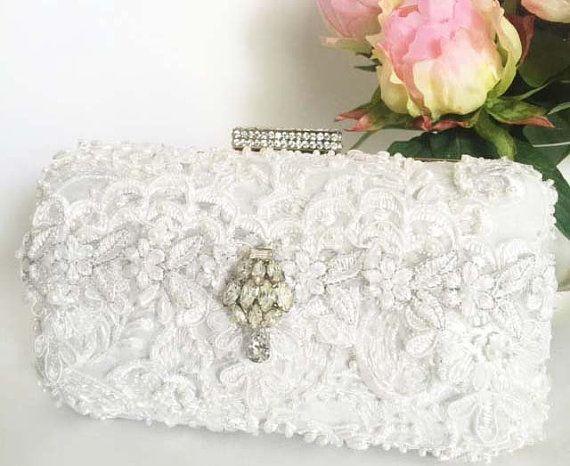 Ivory Lace Beaded Bridal Clutch by CloeNoel on Etsy