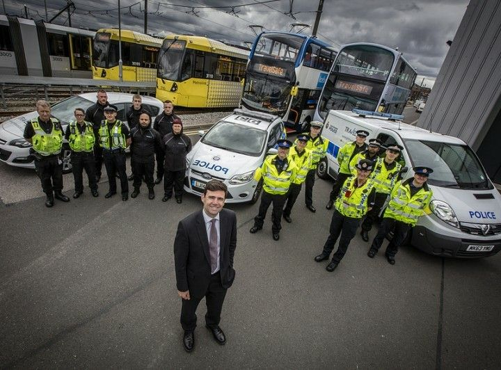 Mayor Andy Burnham meets the new staff.  The region's tram & bus network is set to get safer thanks to the arrival of PCSOs and additional staff to the TravelSafe unit. ww.gmp.police.uk