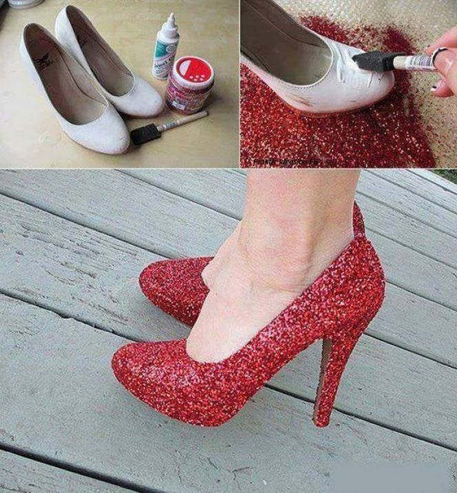 Cheap shoes, red glitter and mod podge...Wicked Witch of the East. Just need the striped stalkings.