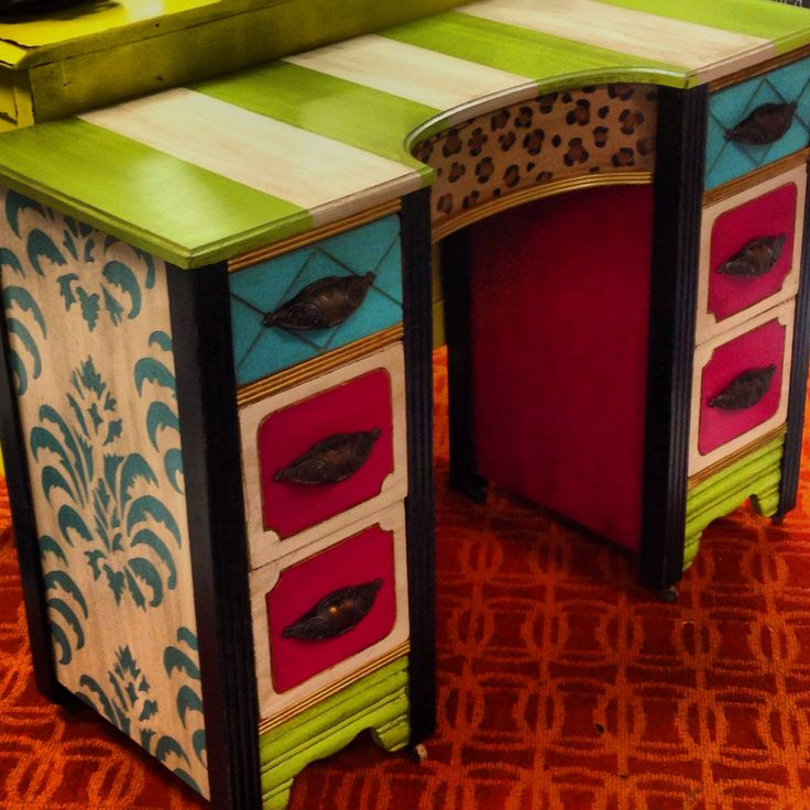 Funky Little Antiqued Writing Desk :) $325 Available At Posh Alley Boutique  In Bentonville,