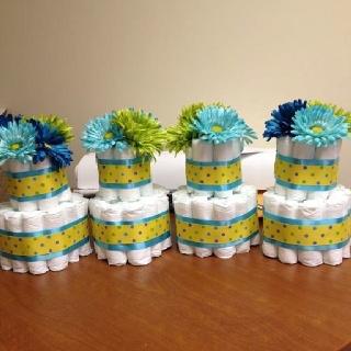 Table centerpieces - mini diaper cakes