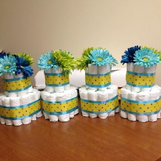 Table centerpieces - mini diaper cakes