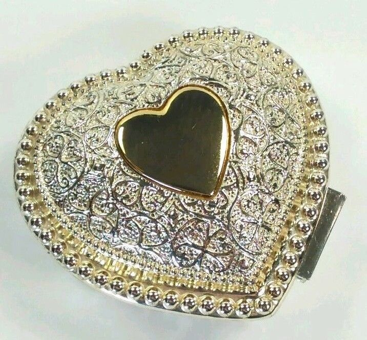 Perfect For Her Rings & Things! FTD Silver Plate Heart Shaped Jewelry Trinket Box Red Velvet Lining #Valentines #Love #heart