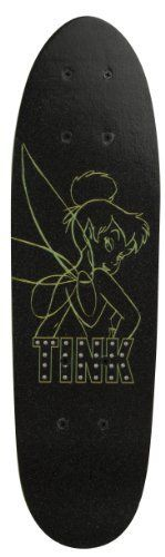 "Disney Fairies Green Neon Tinkerbell 21-Inch Skateboard by Bravo. $20.82. Our 6"" X 21"" skateboard with Disney Fairies graphics will make you the envy of the neighborhood. Features a single kicktail, composite trucks, 50mm PVC wheels and nylon bearings. Perfect for the beginner skateboarder."