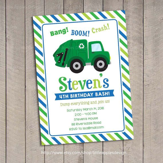 Hello, welcome to Little Apples Design! Garbage Truck Birthday Party Invitation Digital Printable