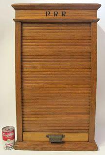 Antique Oak Railroad Ticket Cabinet Roll Top Door Late