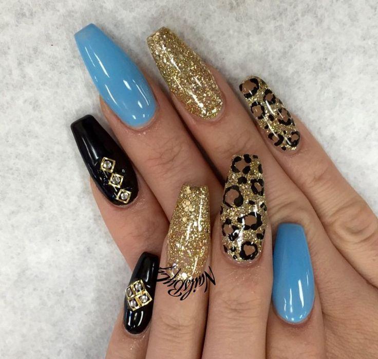Cheetah print, blue and black coffin nails