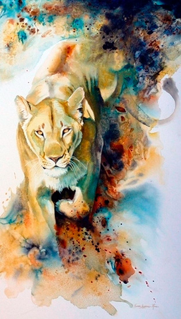 Lioness Watercolor Art | Karen Laurence-Rowe | Image from http://theartofanimation.tumblr.com