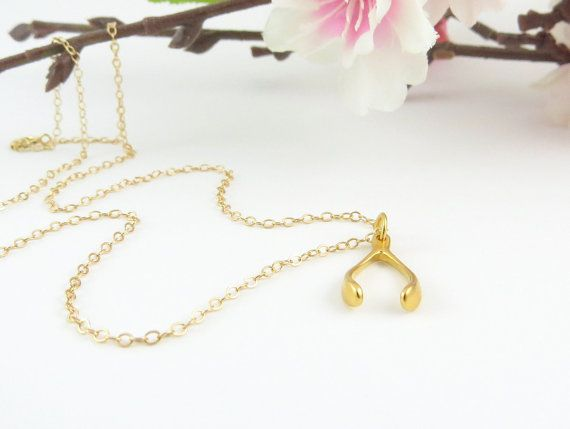 Gold Wishbone Necklace on thin gold chain small by Keepitclose, $30.00