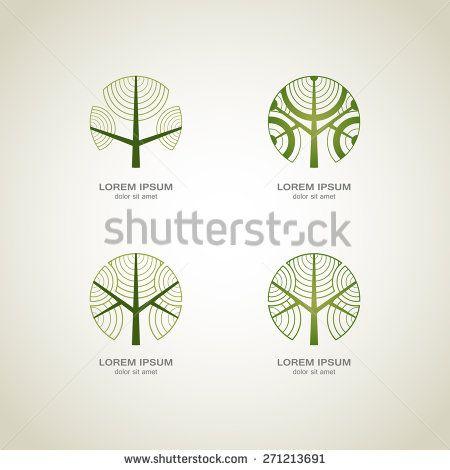 Green Tree logo. Green Circle Tree vector logo design.  creative concept. Ecology Design Background. Vector Illustration. - stock vector